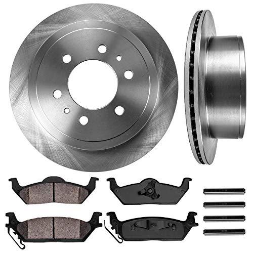 CRK14948 REAR 348 mm Premium OE 6 Lug [2] Brake Disc Rotors + [4] Ceramic Brake...