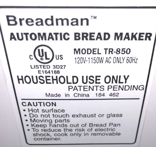 Breadman Pan máquina remo tr850 Pro tr-850 amasar hoja parte Baker ...