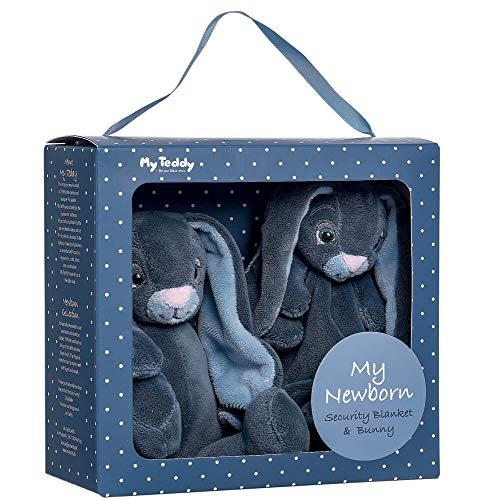 My Teddy My Newborn Geschenkbox Kuscheltuch und Hase blau - Schnuffeltuch Schmusetuch Stofftier Plüschhase Kuscheltier Kaninchen für Kleinkinder Neugeborene Baby