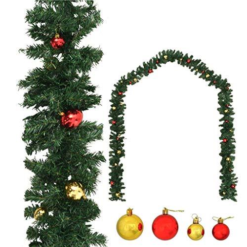 Dioche Guirnalda de Navidad adornada con bolas de 20 m, guirnalda de Navidad artificial, PVC, decoración de Navidad, adecuada para interiores y exteriores
