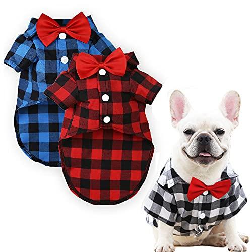 DaFuEn Dog Birthday Shirt 3PC Dog Clothes for Small Medium Large Dogs Boy Puppy Outfit for French Bulldog Dachshund Chihuahua Shitzu Male Dog Tshirt Dog Plaid Shirts with Bow Tie (X-Large)