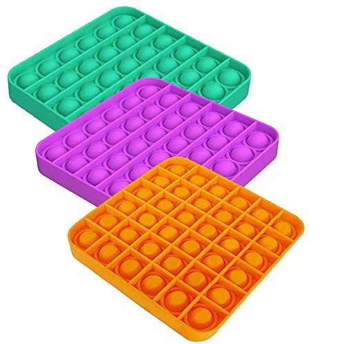 ZNNCO 3PCS Push pop Bubble Fidget Sensory Toy,Stress Relief and Anti-Anxiety Tools for Kids and Adults (Square,Green+Purple+Orange)