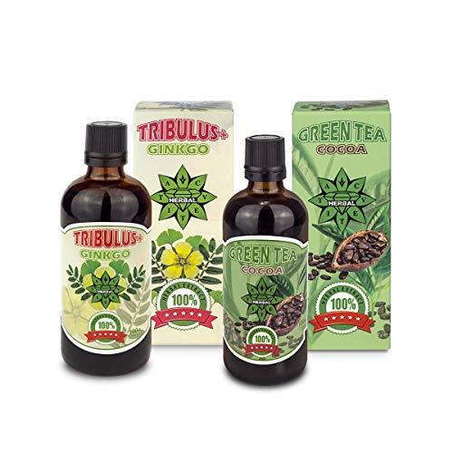 Cvetita Kruiden, Tribulus en Ginkgo Biloba + Groene Thee met Cocoa Bundel, Ondersteunt korte-termijn geheugen en cognitieve functies, krachtige anti-oxidant effecten, hoge sterkte, vetverbrander