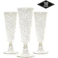 100 Copas Flautas de Champán de Plástico Desechables, Brillo Dorado 150ml| Elegante, Resistente y Reutilizable| Vasos Alargadas Champagne para Fiestas Cumpleaños Boda Navidad Año Nuevo.