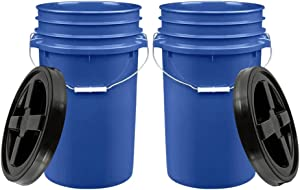 House Naturals 7 Gallon Blue Container Bucket Pail with Gamma lid Food Grade - BPA Free- Made in USA (Pack of 2)