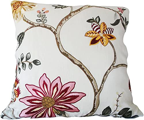 Promini Vintage Floral Embroidered Decorative Pillow Cover Throw Pillow Toss Pillow Accent Pillow Case Cushion Pillowcase with Hidden Zipper Closure for Sofa Home Decor 22 x 22 Inches