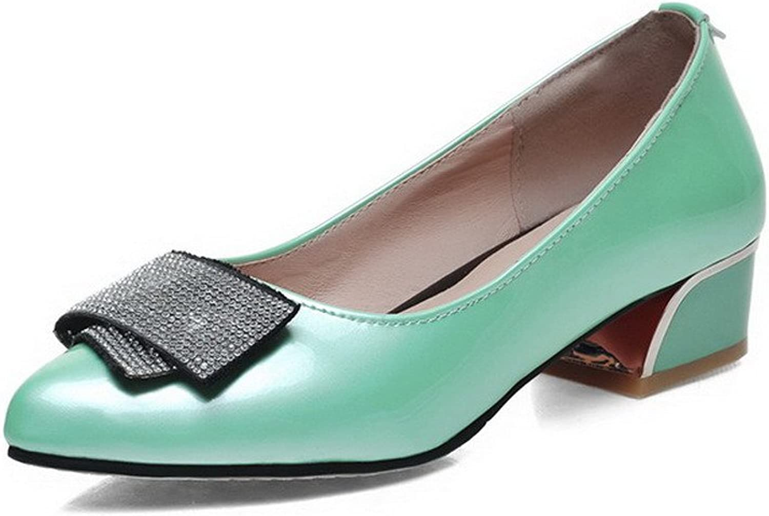 AmoonyFashion Women's Solid Patent Leather Low-Heels Pull-on Pointed Closed Toe Pumps-shoes