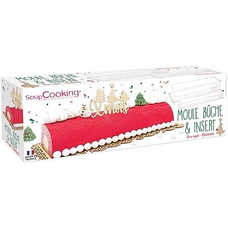 SCRAP COOKING 1921 Kit Moule Bûche de Noël & Insert, PVC Semi-rigides & Réutilisables, Accessoires Pâtisserie Dessert de Noël, Recette Incluse, Lisse, 33 x 11,4 x 6,4 cm