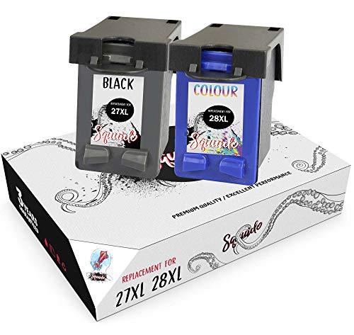Squuido 2 Remanufactured Cartuchos de Tinta 27 28 compatibles con HP Officejet 4215 PSC 1110 1210 1215 1315 Deskjet 3320 3325 3420 3535 3550 3650 5650 5850 | Alto Rendimiento