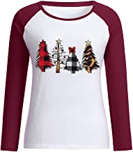 Women Christmas Graphic Tee Top Casual Stitching Alphabet Print Long Sleeve T-Shirt