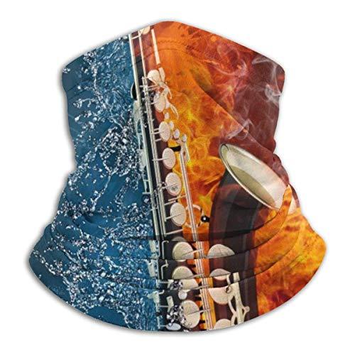 Lawenp Saxofón en fuego y agua Calentador de cuello de vellón Bufanda a prueba de viento Pañuelo Pañuelo para el cuello Polaina Actividades al aire libre