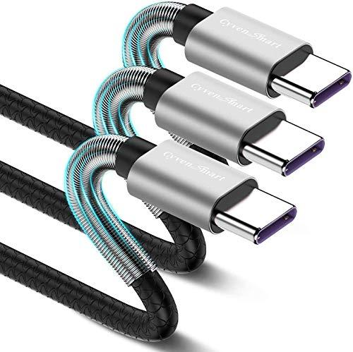CyvenSmart 3 unidades de cable USB C de 2 m, cable tipo...