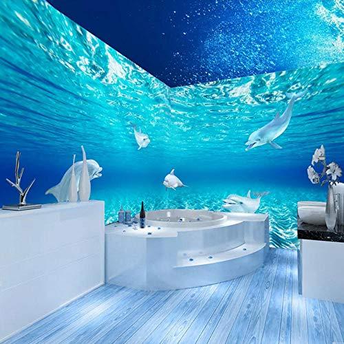 Waterdichte Badkamer Muur, Behang 3D Stereo Dolfijn Aquarium Achtergrond Wandbekleding, 3D 280 cm (B) x 180 cm (H)