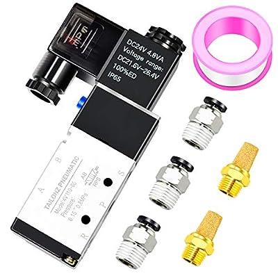 "Tailonz Pneumatic 1/8""NPT Solenoid Valve 4V110-06 12V/24V/110V/220V Single Coil Pilot-Operated Electric 2 Position 5 Way Connection Type?24V? by TAILONZ PNEUMATIC"