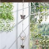 TentHome Kerzenhalter Metall Teelicht zum Aufhängen Teelichthalter Windlicht mit Glaseinsatz Deko Hänger Hängedeko Schmetterling Vintage Kerzenleuchter, 78cm weiß