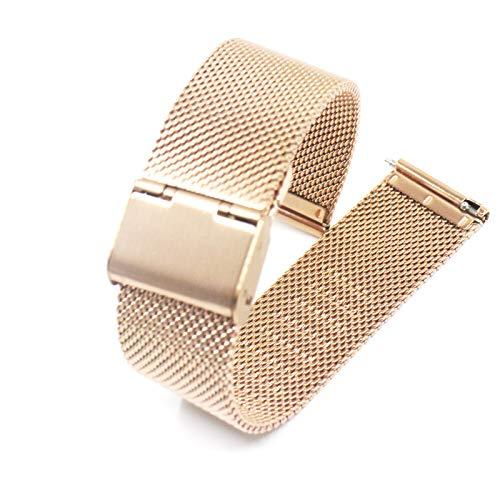 Microwear Cinturino per Orologio, Cinturino in Maglia di Acciaio Inossidabile di Ricambio da 20 mm,Cinturino in Metallo per Cinturino a sgancio rapido,per Uomo Donna (20,Rosa d'oro)