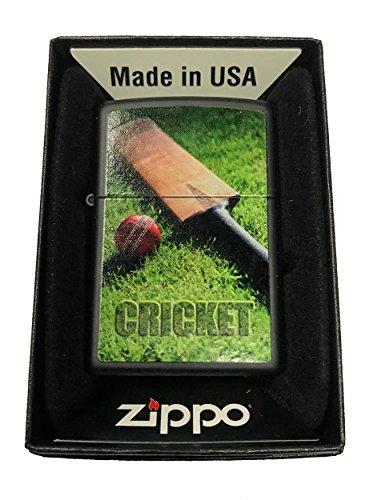 Zippo Custom Lighter - Cricket Ball & Bat Design - Black Matte