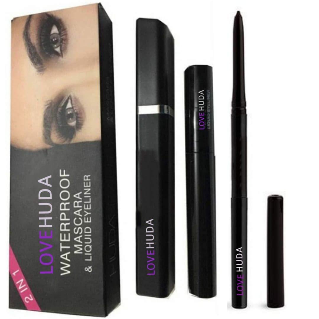 LOVE HUDA Professional Eye Care Combo Waterproof Eyeliner With Mascara And Long Lasting Auto Kajal, Black Set Of 3