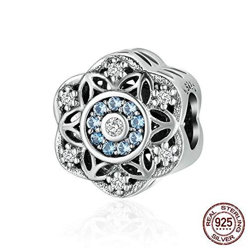 KHDZB 925 Sterling Silber romantische Schneeflocke, schillernde Cz Perlen passen Bettelarmband Armreif Schmuck