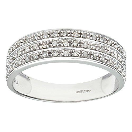 Naava Anillo de Mujer con Oro blanco de 9 quilates (375) con Diamantes Brillantes - Tamaño 11