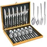 THETHO 24 Stück Besteckset, Besteck aus Edelstahl, Silber Besteck Set mit Messer, Gabel, Löffel, Teelöffel Essbesteck