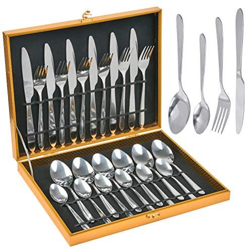 N\A 24 Stück Besteckset, Besteck aus Edelstahl, Silber Besteck Set mit Messer, Gabel, Löffel, Teelöffel Essbesteck