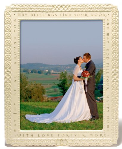 Grasslands Road GR Celtic Ceramic Wedding Frame with Irish Blesssing, Large, White, Cream, Gold