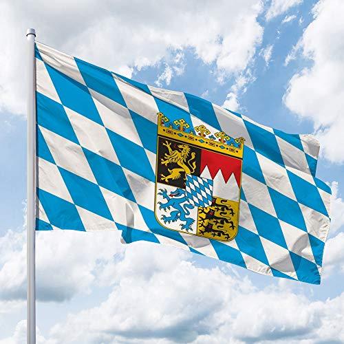 Deitert Bundesland-Flagge Bayern – 150x100 cm cm Bayern-Flagge mit Wappen (Raute), Hissfahne aus reißfestem Polyester, Bayern-Fahne mit Doppelsicherheitsnaht gesäumt