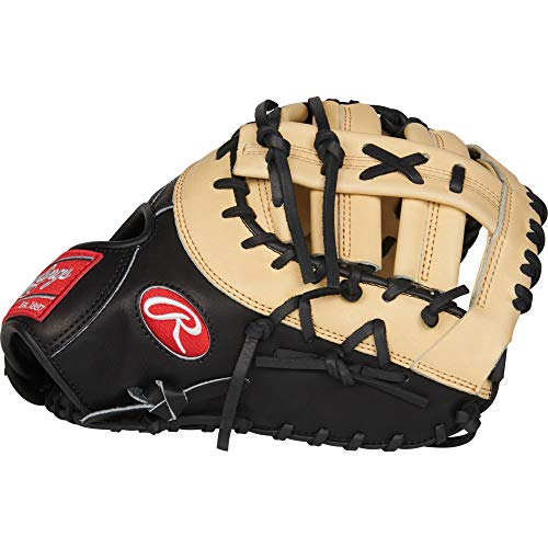 Rawlings Heart of The Hide First Base Baseball Glove, Camel/Black, 13 inch, Single-Post Double-Bar Web, Right Hand Throw