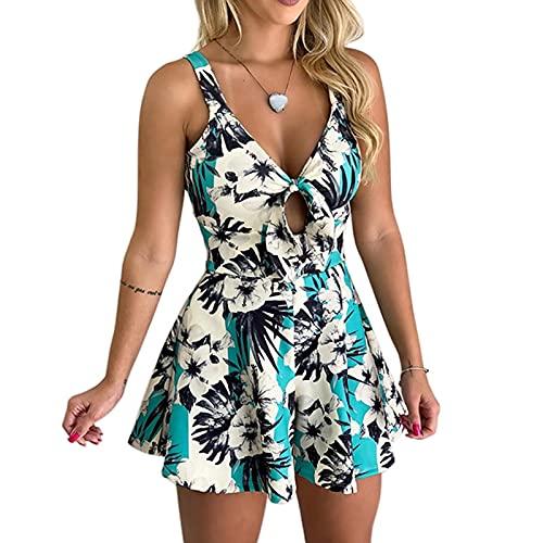 Vestido de verano para mujer, manga corta, sexy, cuello en V, vestido de playa, vestido de ocio, bohemio, retro, sin mangas, vestido corto de ocio.