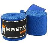 Meister Junior 108' Vendas para Manos de algodón elásticas para MMA y Boxeo (Par) - Azul