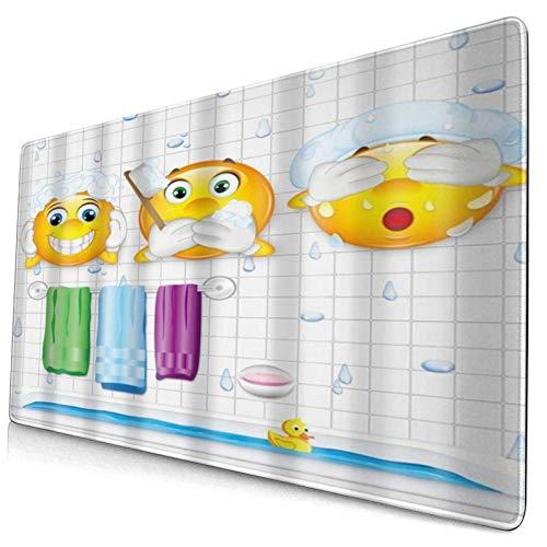 NUXIANY Alfombrilla de Ratón Gaming Cute Bathroom Wash Expression Pack Patrón Impresión Digital Superficie Texturizada Impermeable Base de Goma Antideslizante para Gamers Oficina