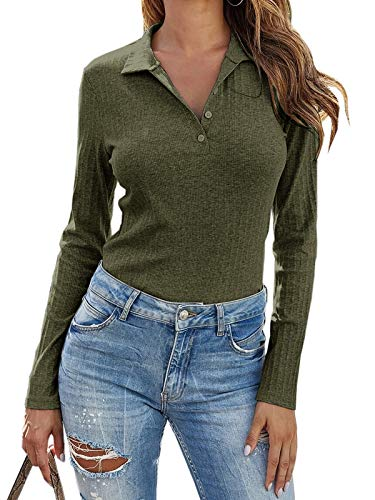 Womens Long Sleeve Polo Shirts Collared Button Down Ribbed Knit Tops Solid Tees Army Green