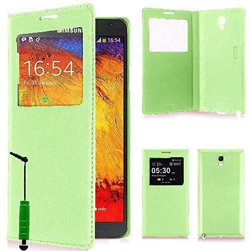 VCOMP ® Flip-Cover Case Hülle Schale Ansicht Kompatibel für Samsung Galaxy Note 3 Neo/Lite Duos 3G LTE SM-N750 SM-N7505 SM-N7502 - GRÜN + Mini-Eingabestift
