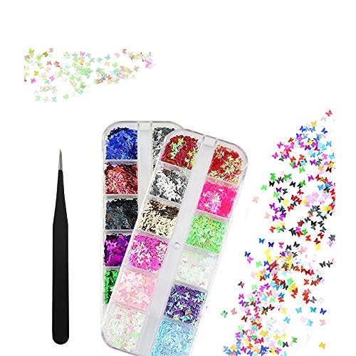 Paillettes Farfalla Paillettes per Unghie Olografico Glitter Unghie per Nail Art Decorazione Glitter Unghie Paillettes Brillantini Gel Glitter Paillettes per Unghie Olografiche per Fai Da Te 2 Scatole