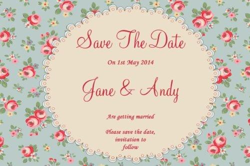 10 x Gepersonaliseerde Bloemen Shabby Chic Thee Geïnspireerd Vintage Bruiloft Bewaar De Datum Kaarten