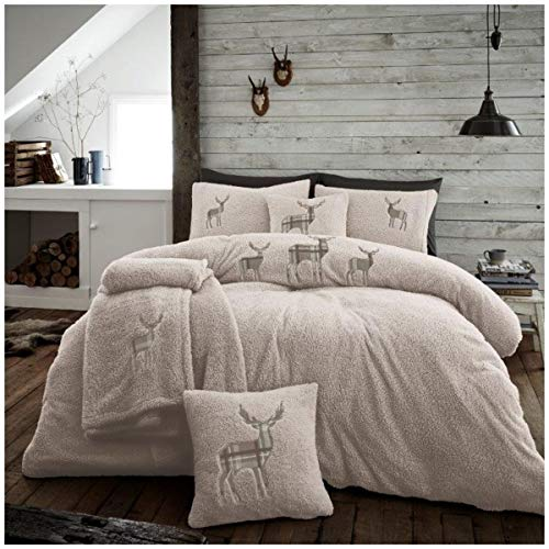 Easy Care Teddy Embroidered Stag Duvet Cover Set with Pillowcases, Quality Soft & Cosy Fleece Quilt Set, Double Size, Natural