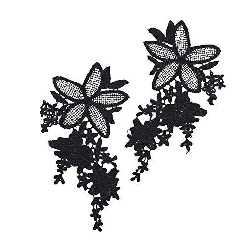 ZHOUBA 2 Stück Spitzen-Stickerei Applikation Brautkleider Ausschnitt DIY Nähen Kragen Patch, Schwarz, Schwarz
