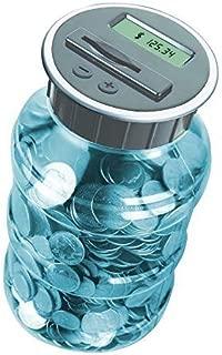 Digital Energy Digital Coin Counter Pennies Nickles Dimes Quarter Savings Jar | Transparent Blue w/ LCD Display