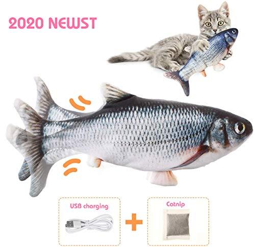 MMTX Elektrisch Spielzeug Fisch,USB Elektrische Plüsch Fisch Kicker Katzenspielzeug mit Katzenminze für Katze und Kätzchen, für Katze zu Spielen, Beißen, Kauen und Treten