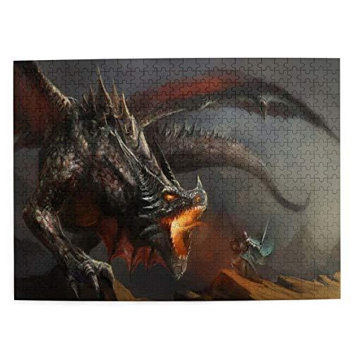 CVSANALA Jigsaw Picture Puzzles 500 Stück,Monster Spitfire Dragon,Bildungs Familienspiel Wandkunstwerk Geschenk für Erwachsene,Teenager,Kinder,20.4 x 15Zoll