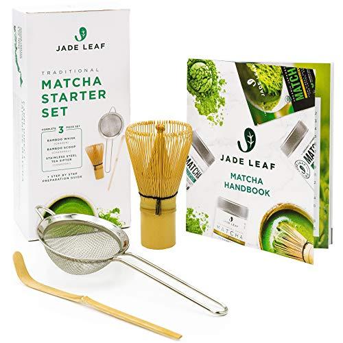 Jade Leaf Traditional Matcha Starter Set - Bamboo Matcha Whisk (Chasen), Scoop (Chashaku), Stainless Steel Sifter, Fully Printed Handbook - Japanese Tea Set