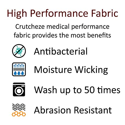 Crutcheze Premium USA Made Crutch Pad and Hand Grip Covers | Comfortable Underarm Padding Washable Breathable Moisture Wicking Anti-Bacterial Orthopedic Products Accessories (Black)