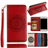Black Deals Friday Deals Sales-iPhone 8 Wallet Case,for iPhone 7 Wallet Case,Valentoria Mandragora Flower Premium Vintage Emboss Leather Wallet Pouch Case with Wrist Strap for iPhone 8/7 4.7inch(Red)