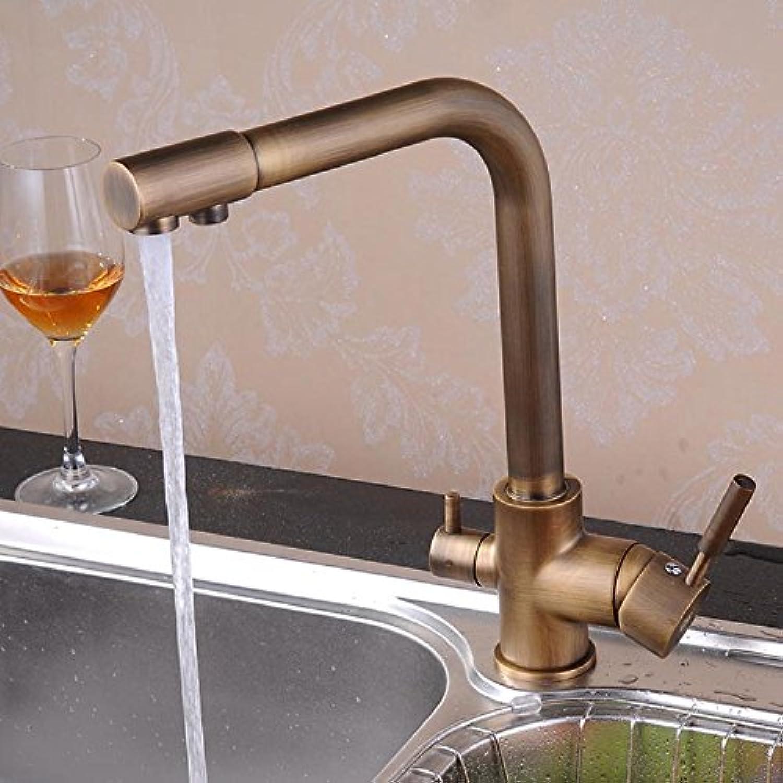 Retro Deluxe Faucetinging antiken Wasserhahn Wasseraufbereiter fiter Kupfer Küche Fauets Hei Kalt Mischbatterie 360 drehbaren Armaturen, Wei
