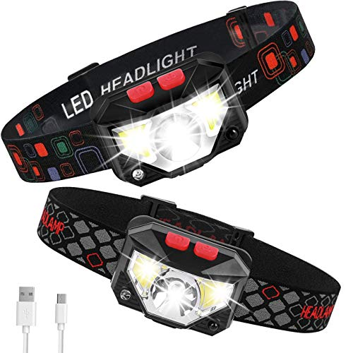 LED Headlamp Flashlights, 2 Pack USB Rechargeable Head Lamps 1100 Lumen With Red White Light, Waterproof Headlight with Adjustable Headband for Nighttime Walking, Hiking, Adventure, Camping, Repair