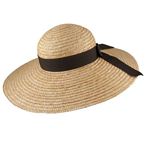 RACEU ATELIER Sombrero de Paja Ala Ancha Mónaco - Sombreros Mujer - Hecho a Mano - Copa Redondeada