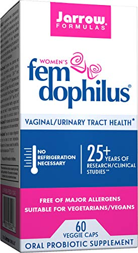 Jarrow Formulas Fem-Dophilus, 1 Billion Organisms Per Cap, Supports Vaginal and Urinary Tract Health, 60 Count (Cool Ship, Pack Of 3, Packaging may vary)