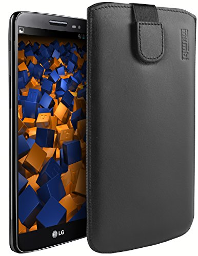 mumbi Echt Ledertasche kompatibel mit LG G2 Mini Hülle Leder Tasche Hülle Wallet, schwarz