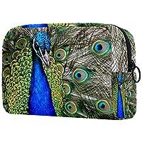 コスメティックバッグトラベルトイレタリー 毎日のポータブルジッパークロージャーメイクアップバッグ,美しさの孔雀の羽